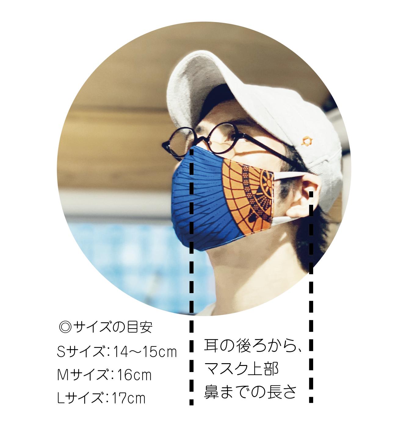 アフリカ布で作った銅繊維シート入りマスク/ツバメ_青