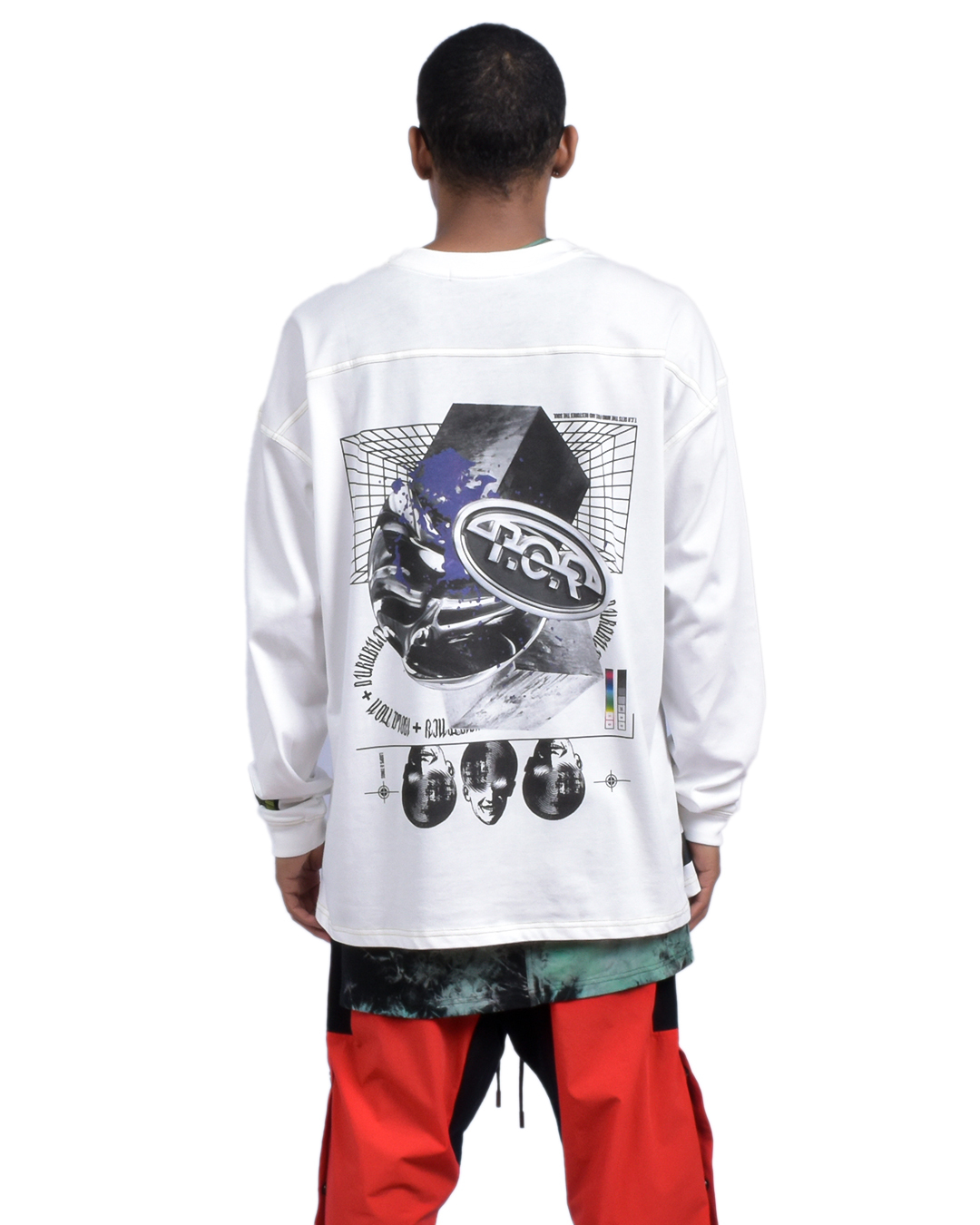 CELL OVERSIZED  L/S TEE - WHITE/YELLOW