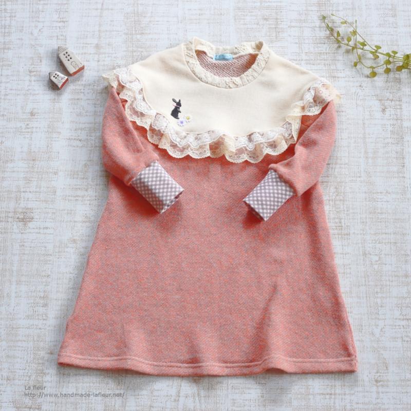 【100】snoopiワンピース*杢ピンク うさぎとお花 スヌーピワンピース フリルワンピース/Lafleur