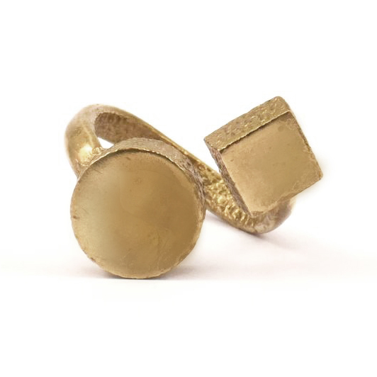Raw brass Rings -  Circle&Sqiareリング  RG-016