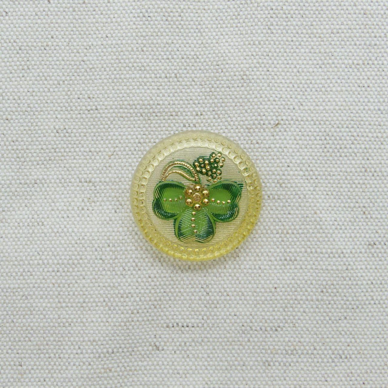 【チェコガラスボタン】クローバー・緑 ::: 大2.7cm