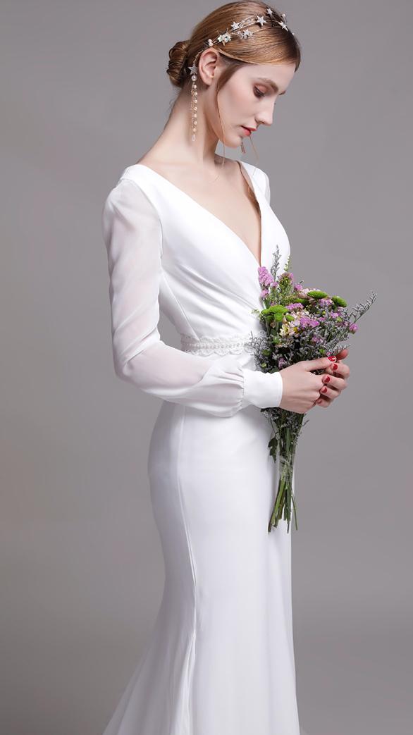 【DearWhite】ウェディングドレス Aライン プリンセス エンパイア デコルテ 結婚式 披露宴 二次会 パーティーウェディングドレス・カラードレス・サイズオーダー格安オーダーメイド DW00045
