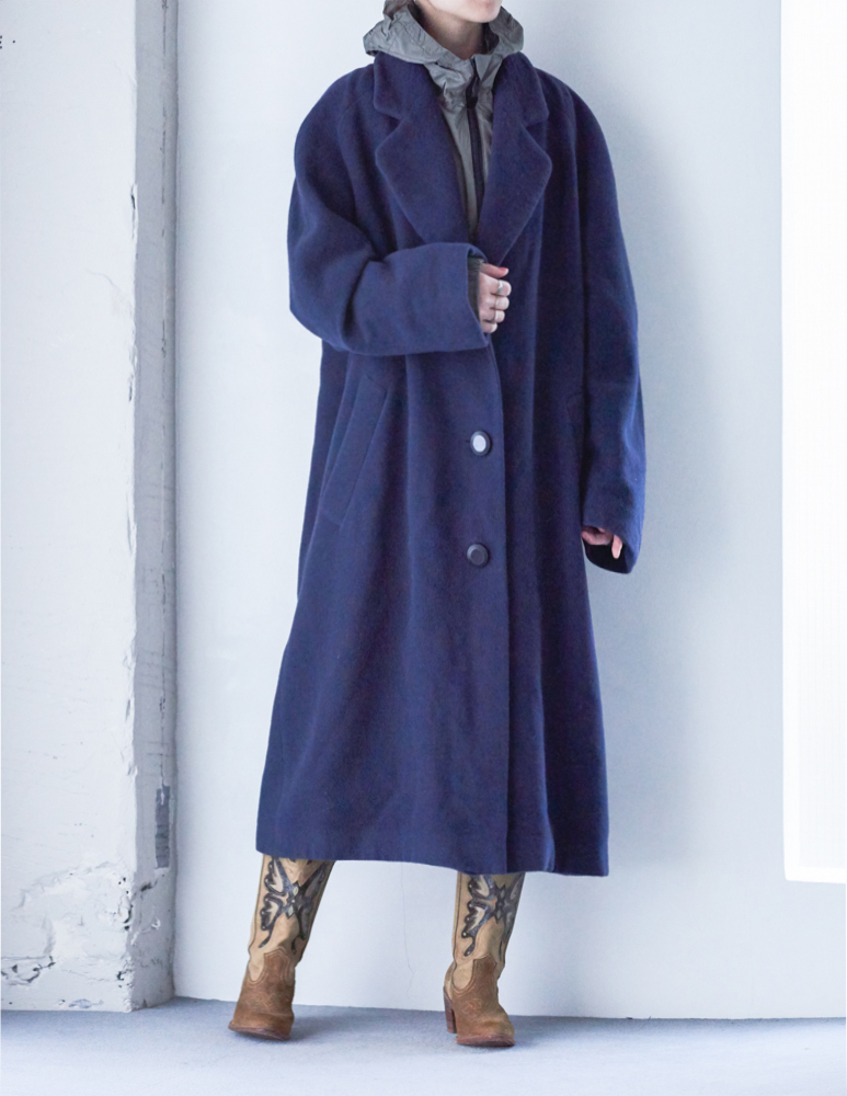 90's Navy Heavy Wool Coat