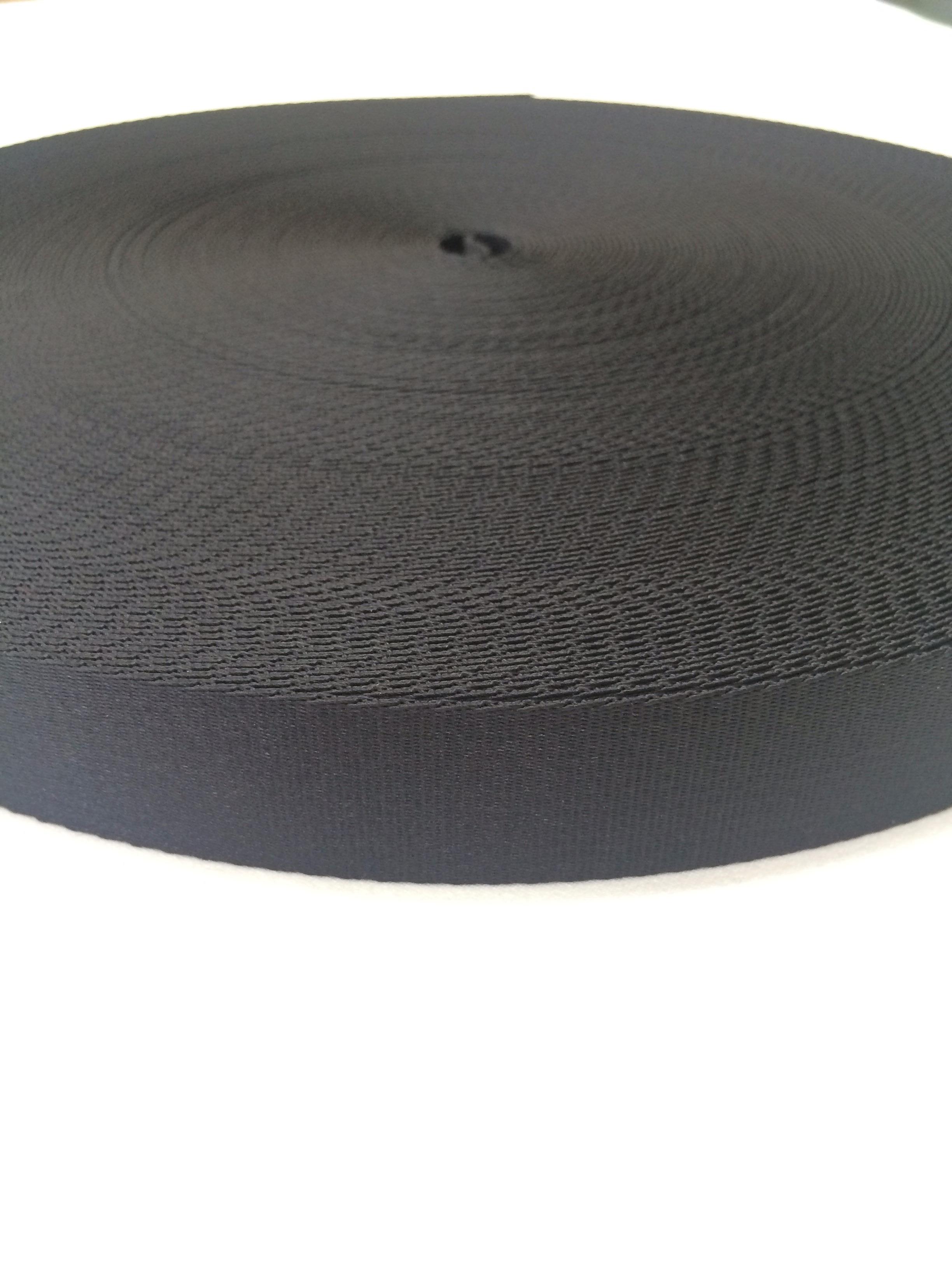 ナイロンテープ  サテン調 朱子織  25mm幅   黒  5m