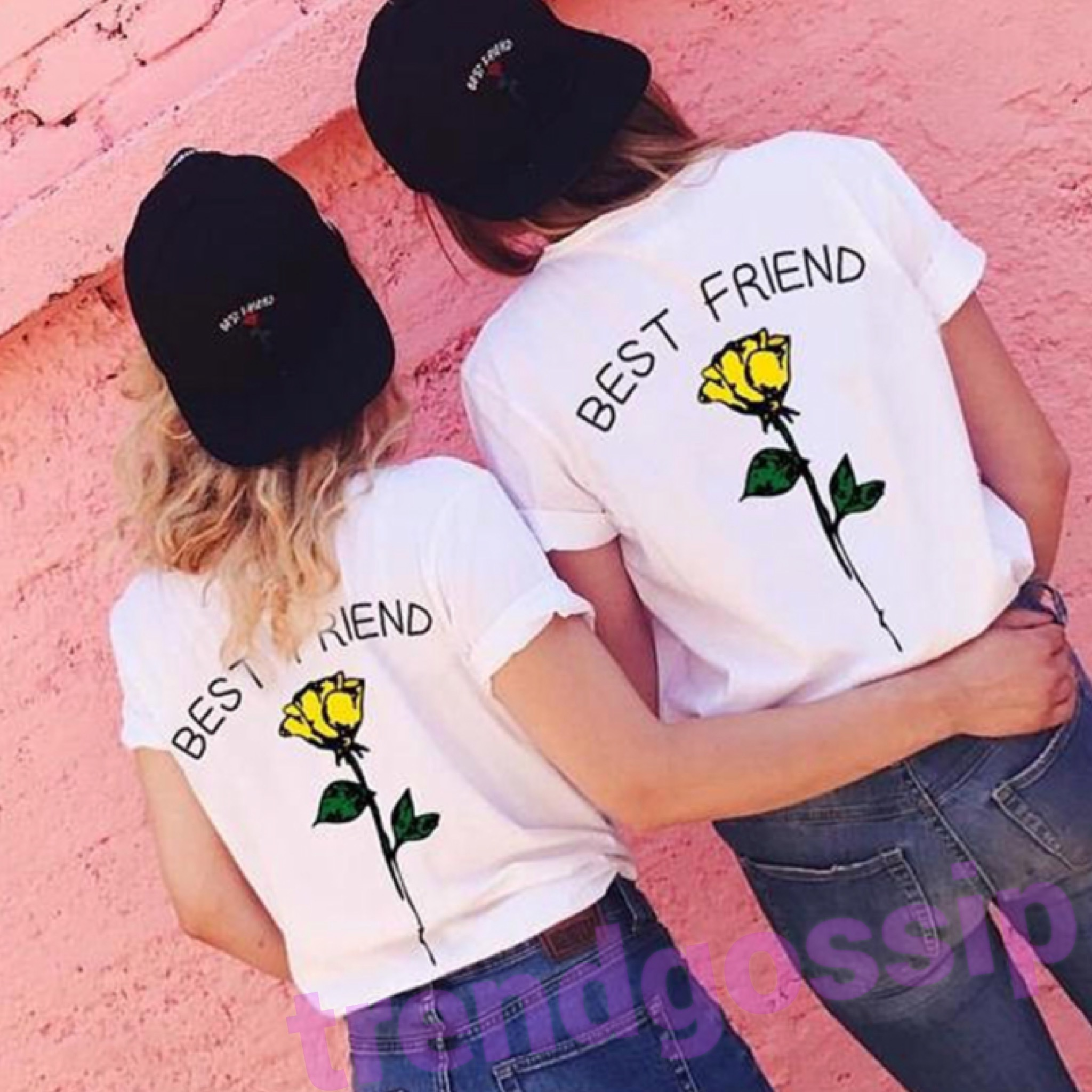 BestFriendローズTシャツ/お揃いTシャツ/3色展開/S〜XXL