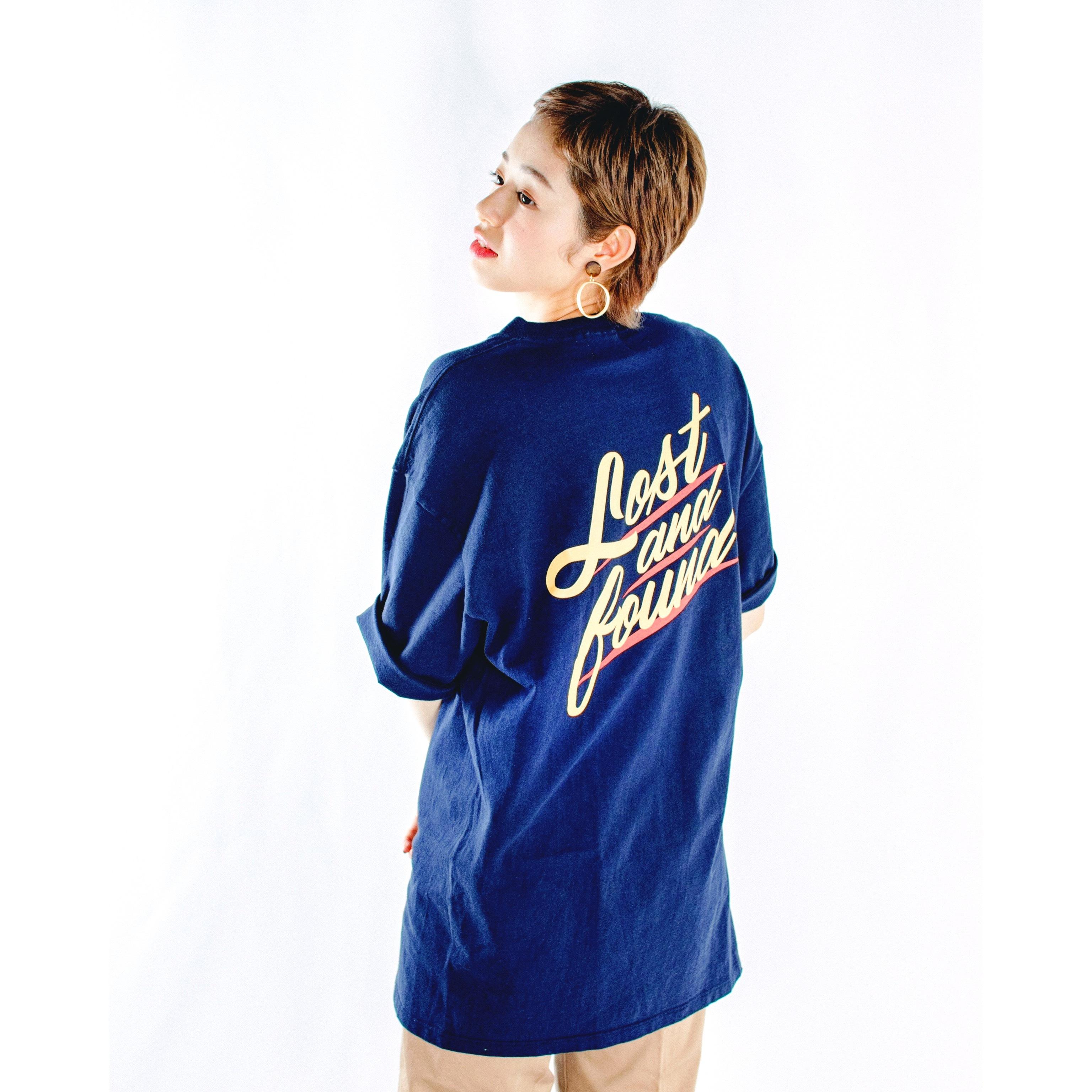 "【LOST AND FOUND】""BACK PRINT"" Vintage Pocket  BIG T-shirt (NAVY)"