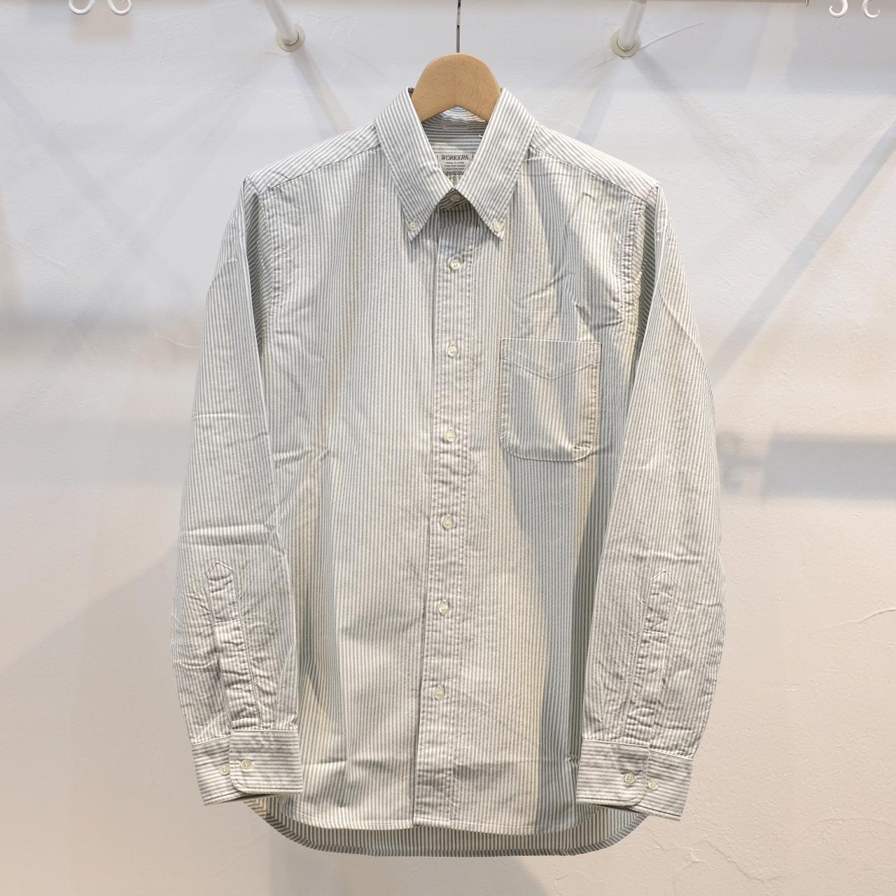 Workers(ワーカーズ) スーピマオックスボタンダウンシャツ グリーンストライプ