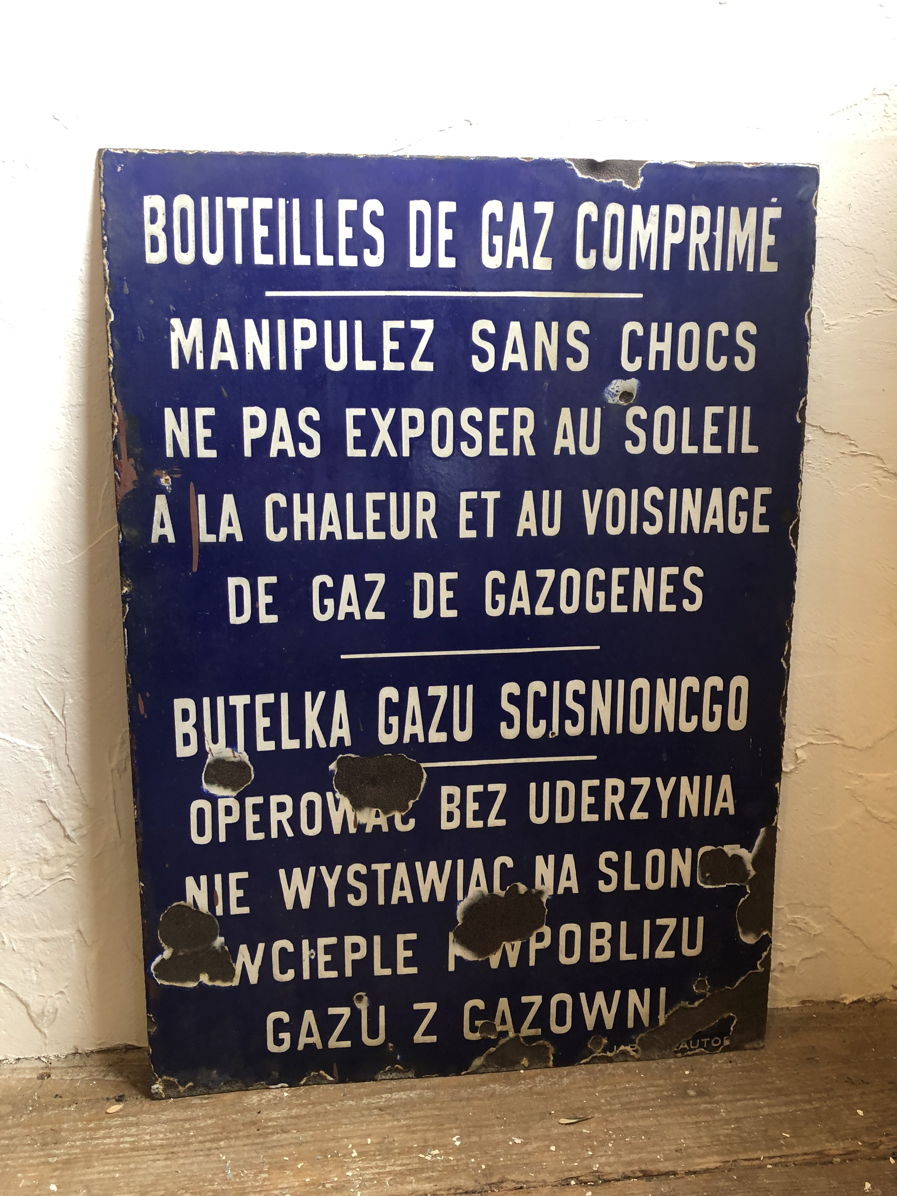 両面文字あり大きなホーロープレート ブルー フランスアンティーク