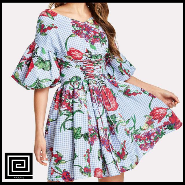 ランタンスリーブフラワープリントドレス