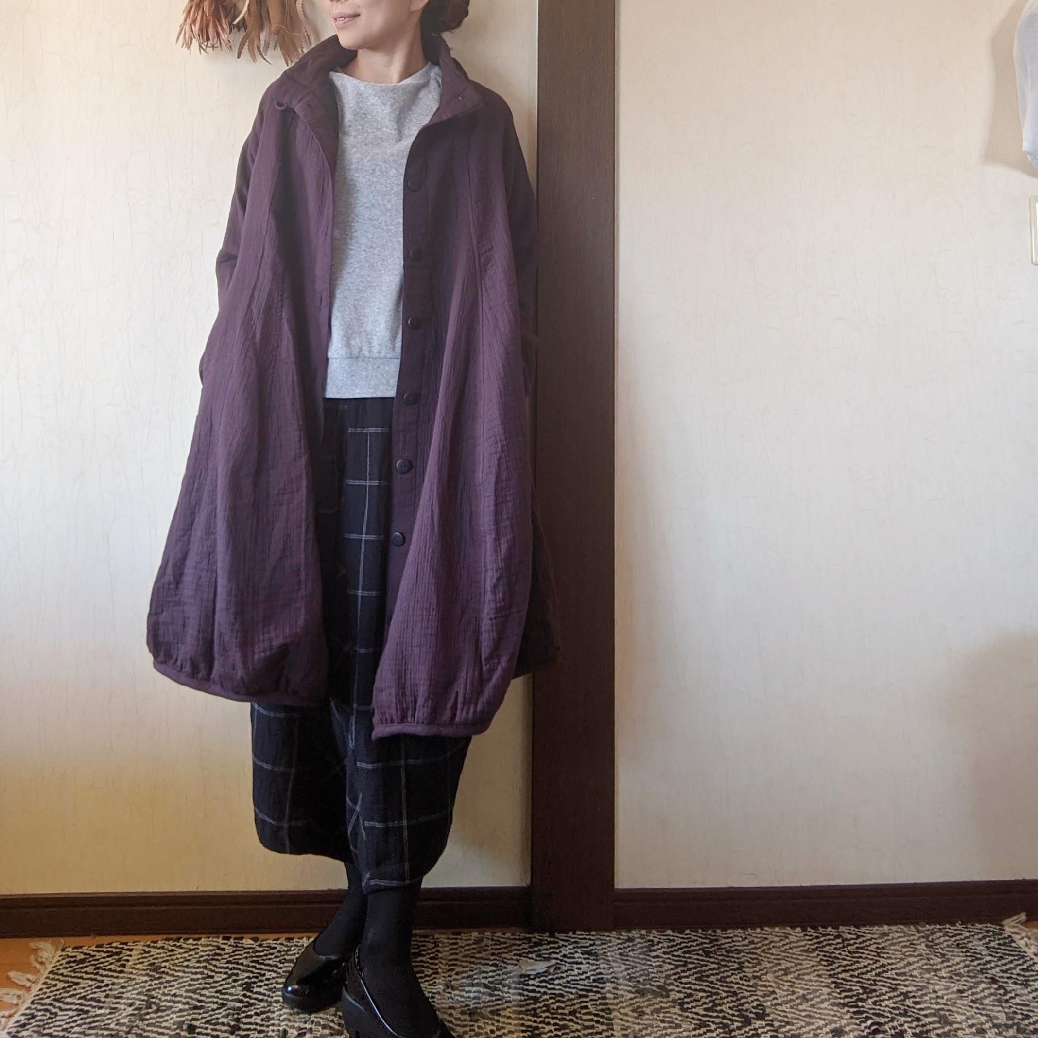 チェンマイ あずき色ののふんわりバルーン風コート ショート