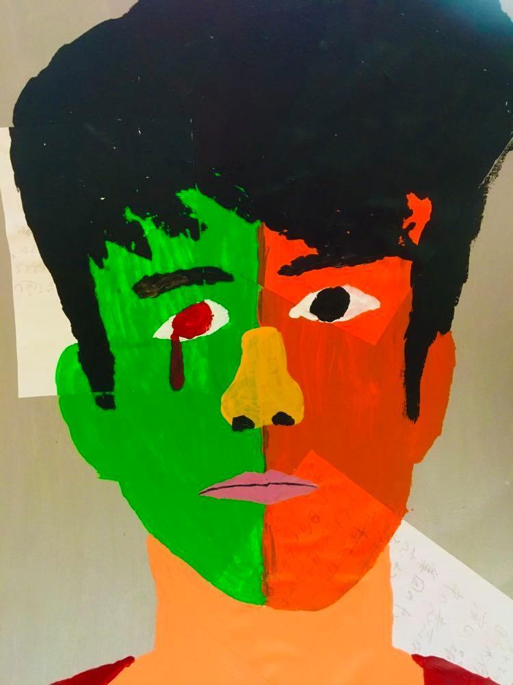 【8/29-9/8期間限定!菊沢将憲最初期絵画展作品】  自画像  320mm×440mm黒い額縁付き
