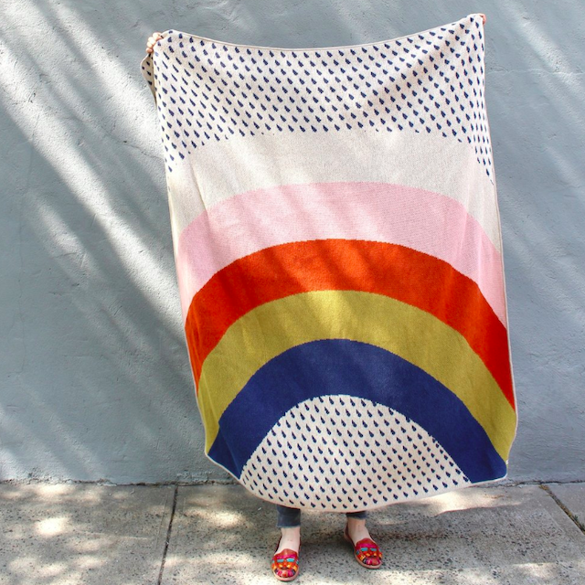 CALHOUN&CO. RAINBOW & RAINDROPS KNIT THROW BLANKET ニットスローブランケット