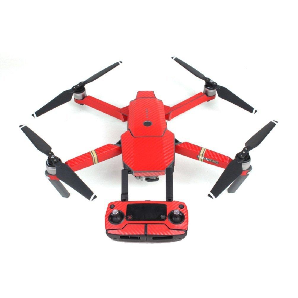 処分大特価★ MavicPro 機体と送信機+バッテリー別途2個分のカーボン調シールセット  (レッド・カーボン模様)