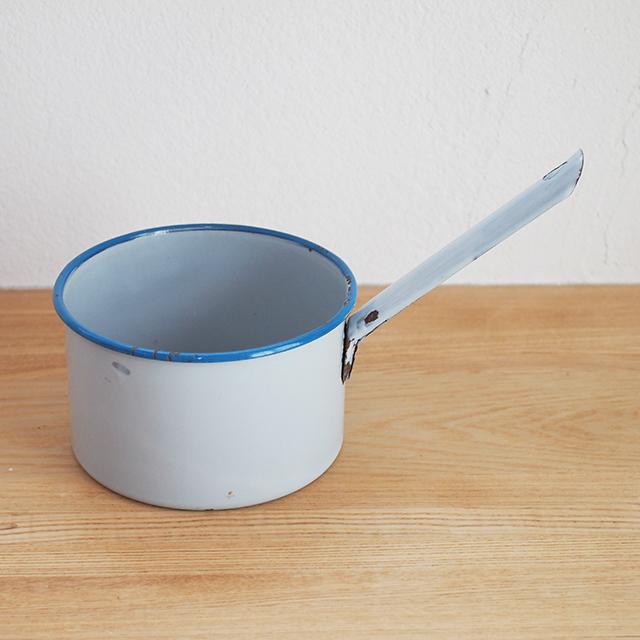 【イギリス】 片手鍋 ブルー 青 蓋なし ガーデニング ディスプレイ