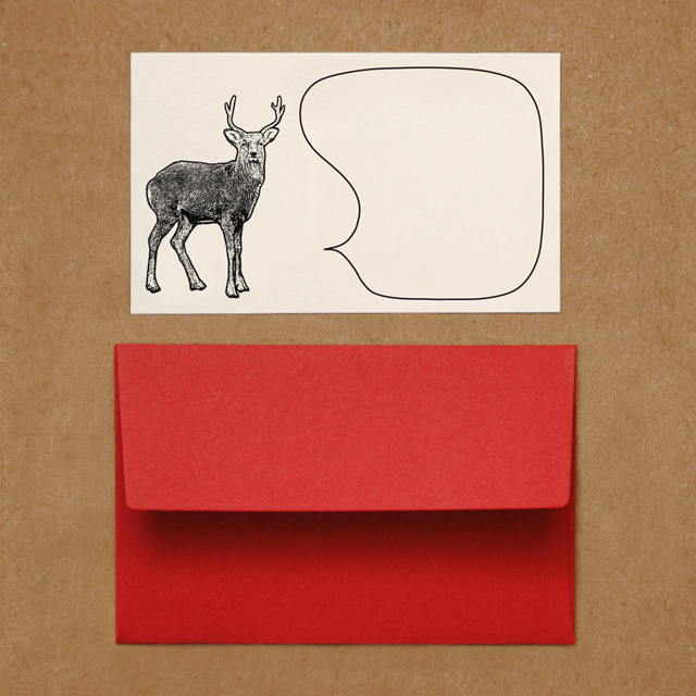 封筒つきメッセージカード(シカ)
