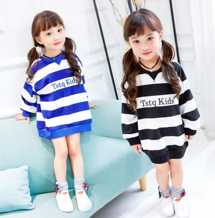 即納 キッズ 韓国子供服 ビッグシルエット ボーダー トレーナー ワンピースにも 子供服 オーバーサイズ 送料無料