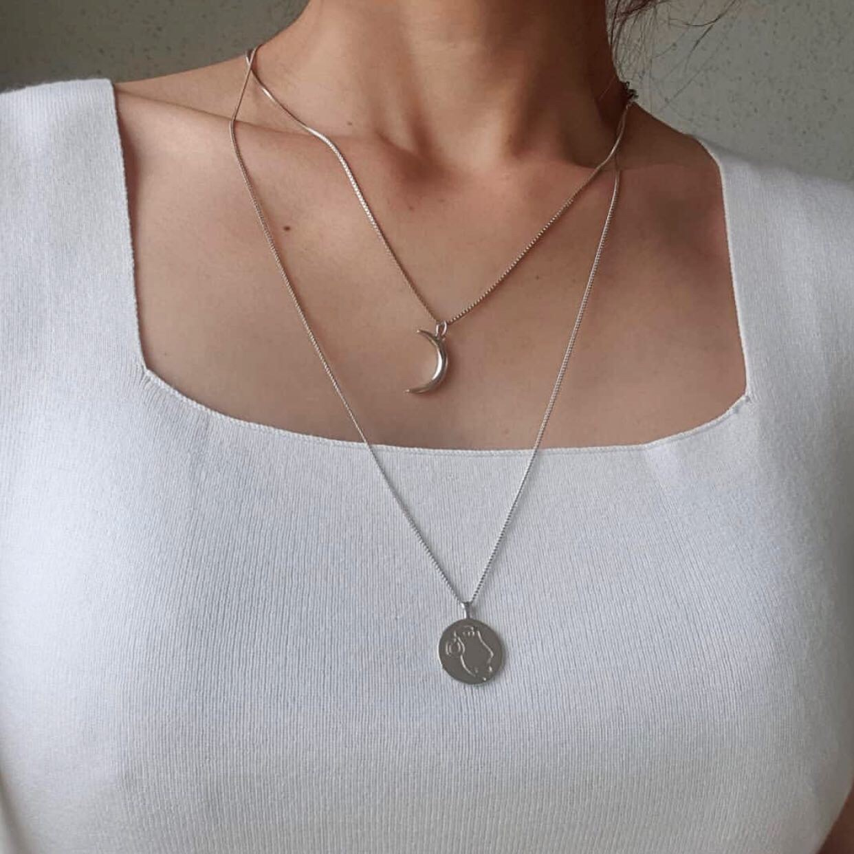 moon necklace silver
