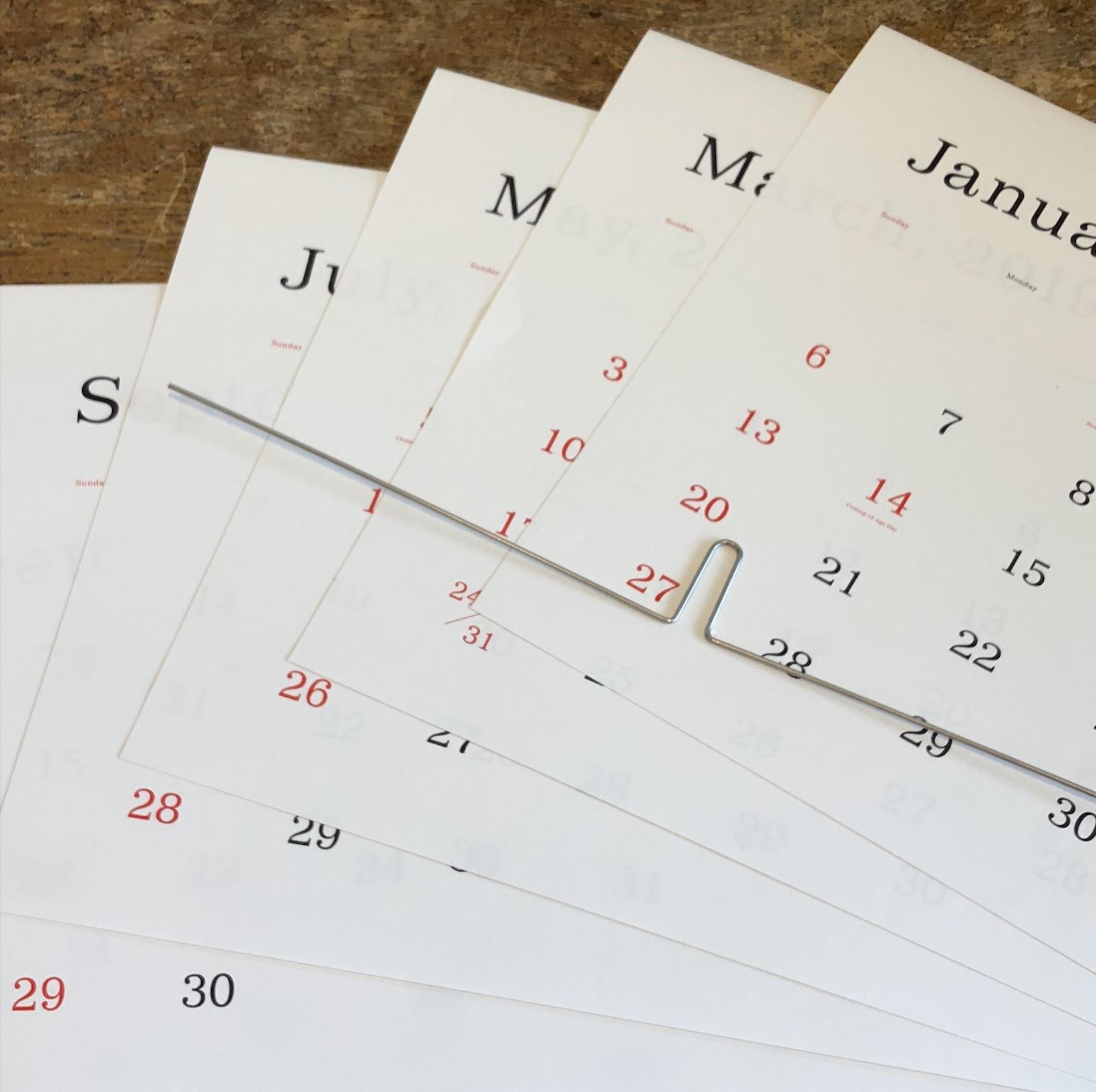 葛西薫カレンダー 2019(罫線なし)