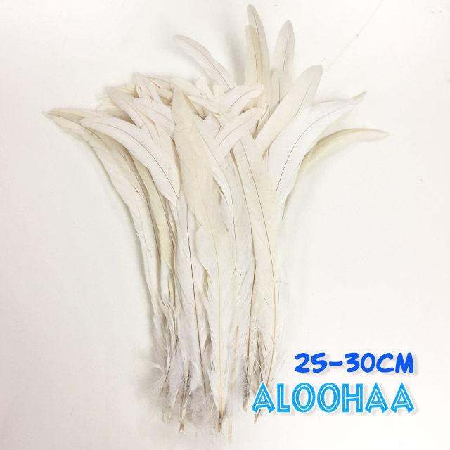 ロングフェザー 【白(ナチュラル)】25-30cm タヒチアン 衣装 材料 ルースターテール 染め 羽根