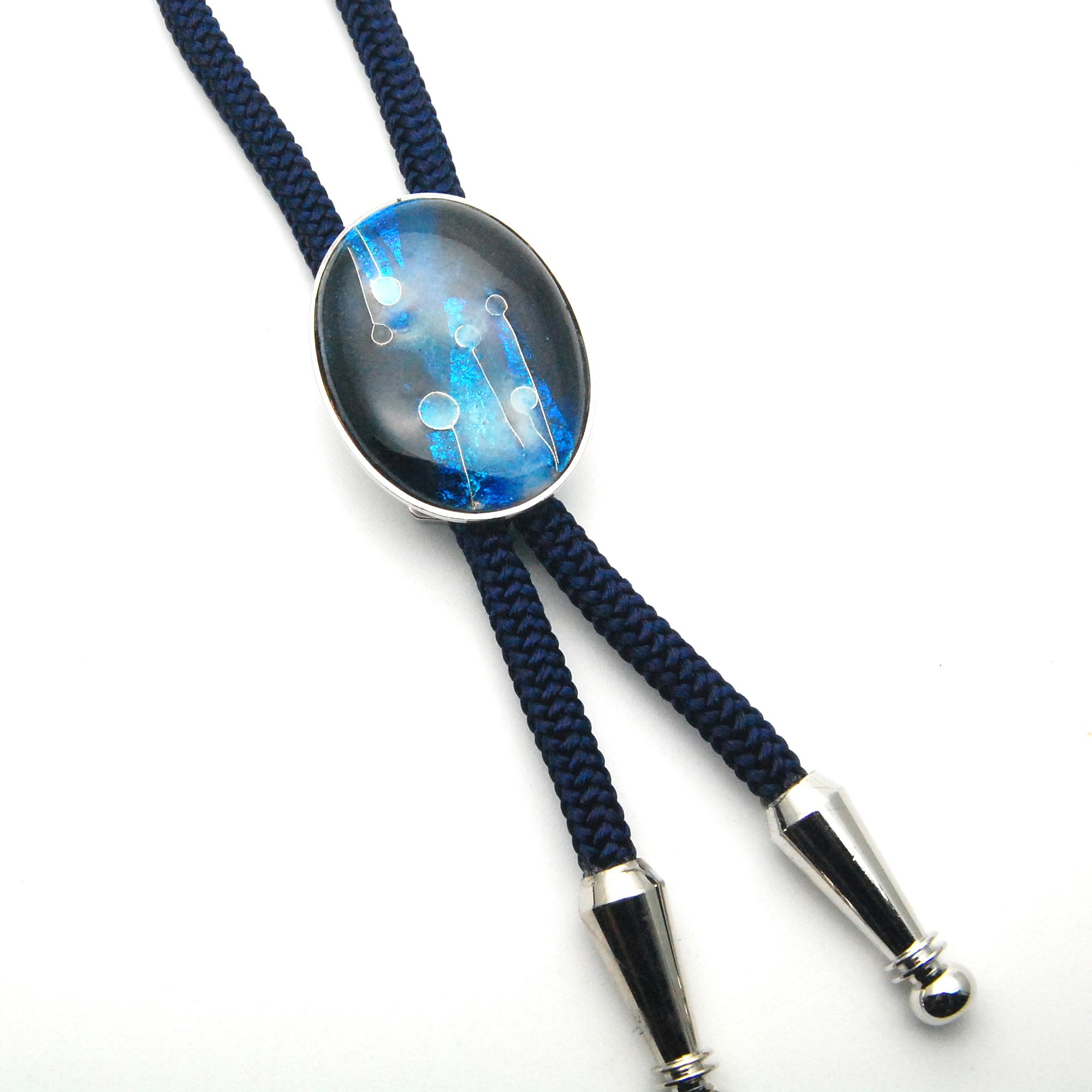 銀箔張り 深海群青グラデーション 楕円形ループタイ