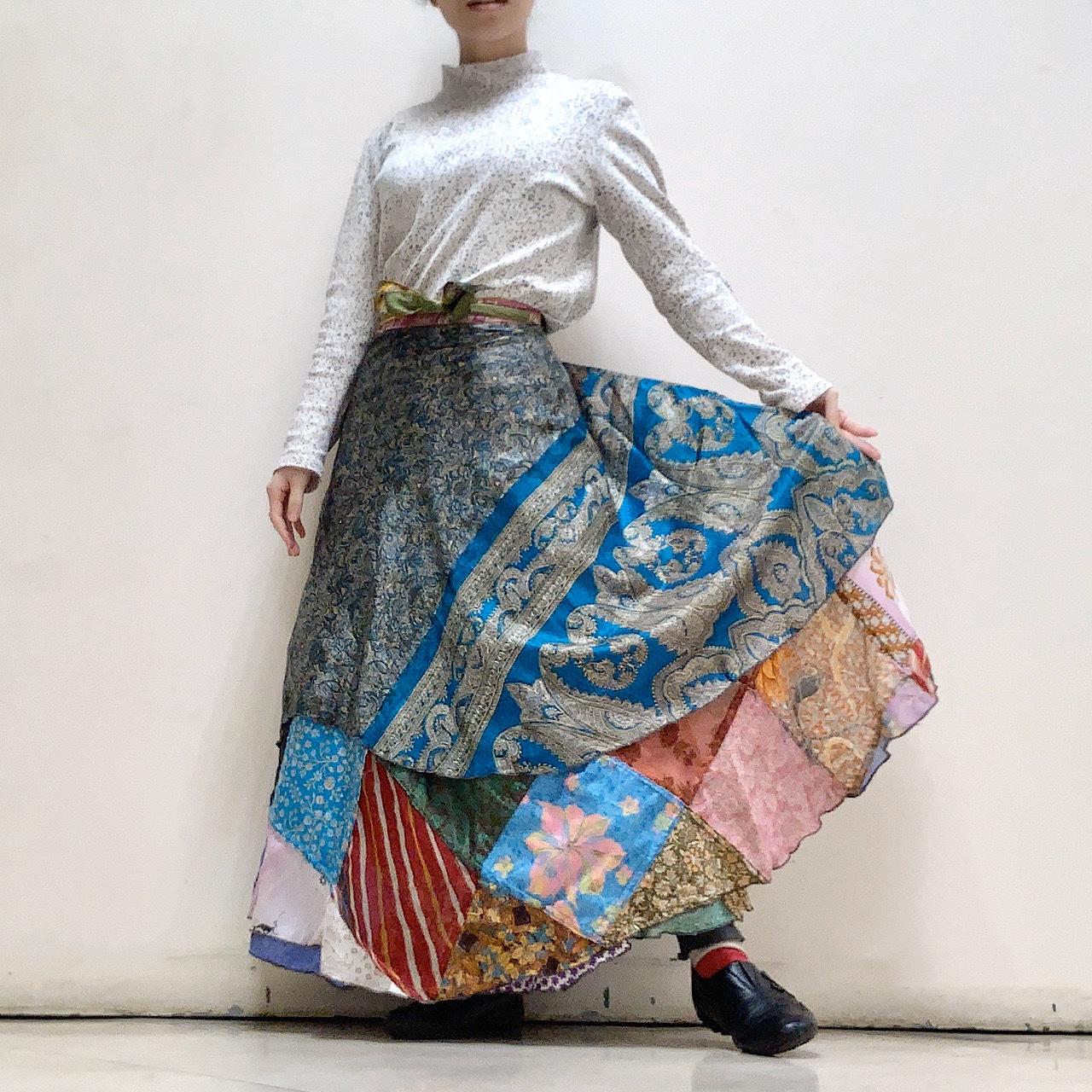 dspat-154 シルクサリー パッチワーク 巻きスカート