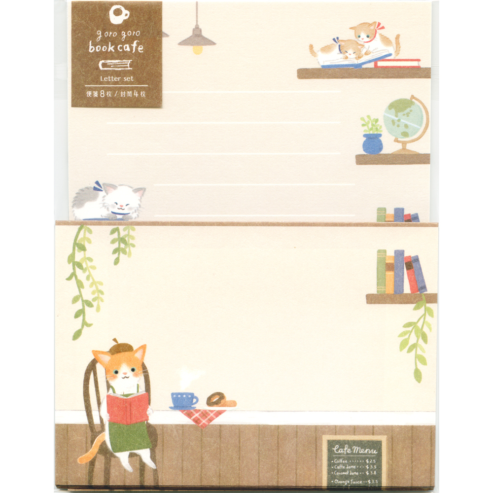 猫レターセット(ごろごろブックカフェ)L判レター