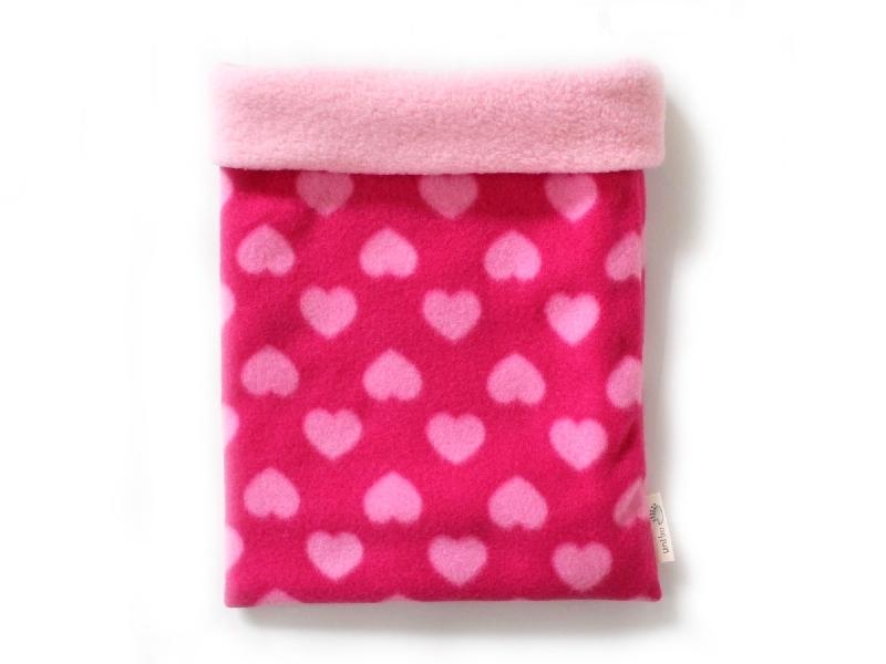 ハリネズミ用寝袋 L(冬用) フリース×フリース ハート ピンク