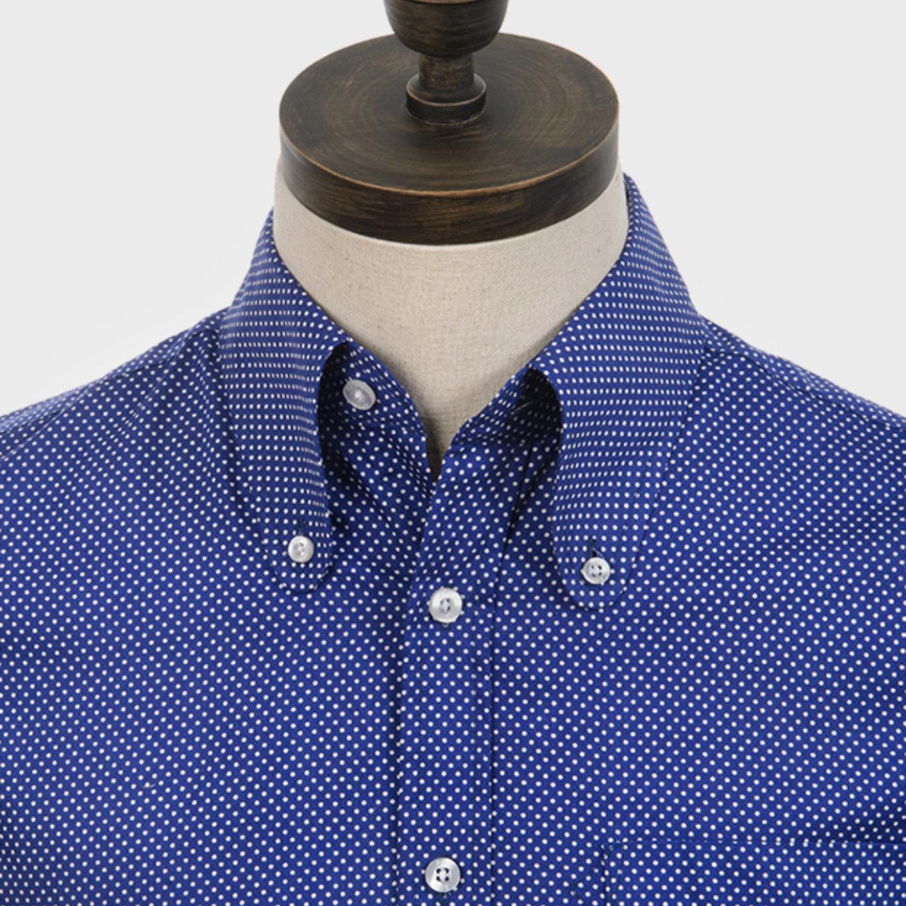 【ART GALLERY】ポルカドット ビーグルカラー ボタンダウン シャツ 〈Blue〉