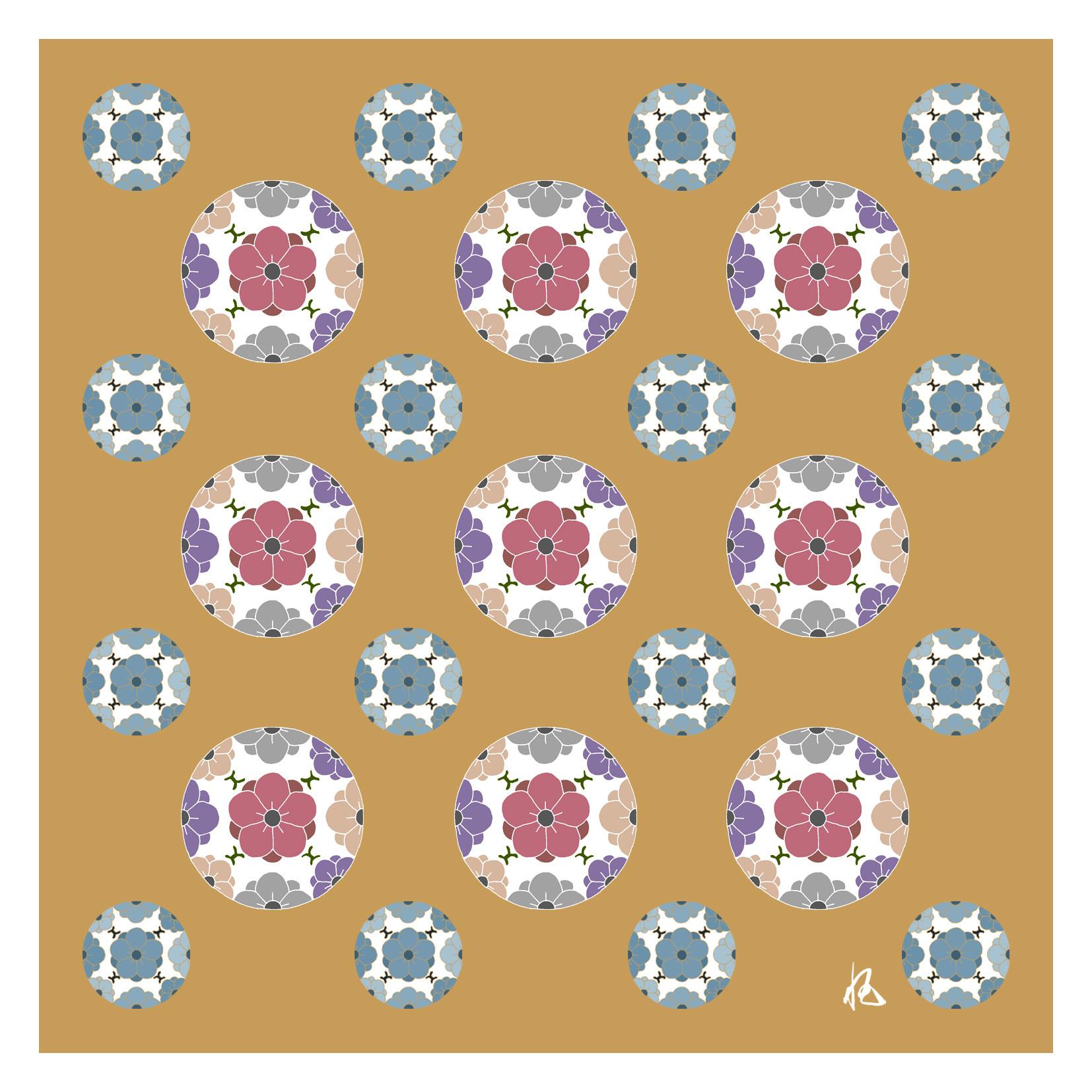 ガラス皿「そめゆら」K-20 梅紋 オレンジ