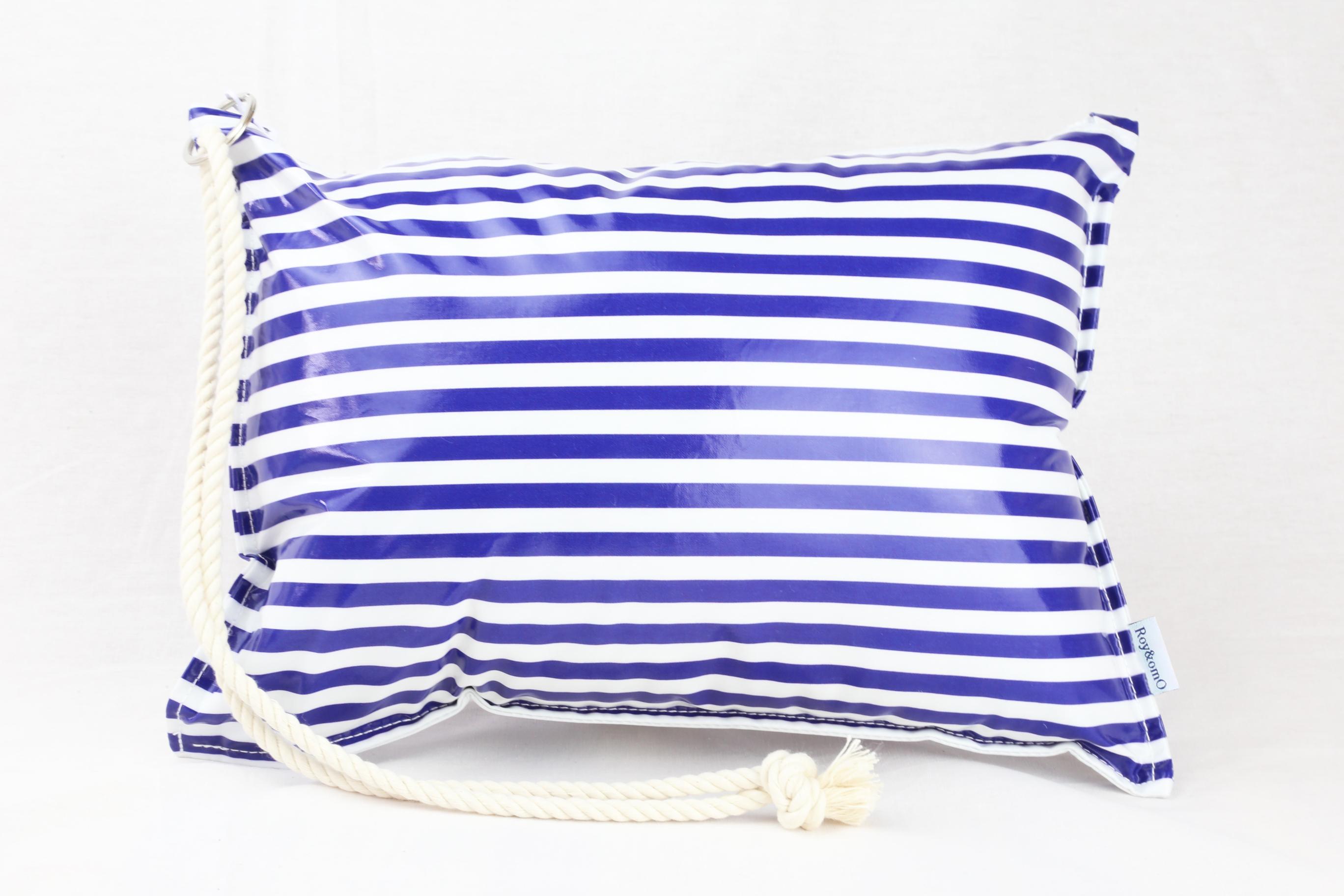 Pillow Bag (plumpillow purse)【Border Navy】まくら×ポーチ アウトドア
