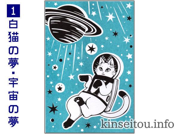 ポストカード - 白猫の夢・宇宙の夢