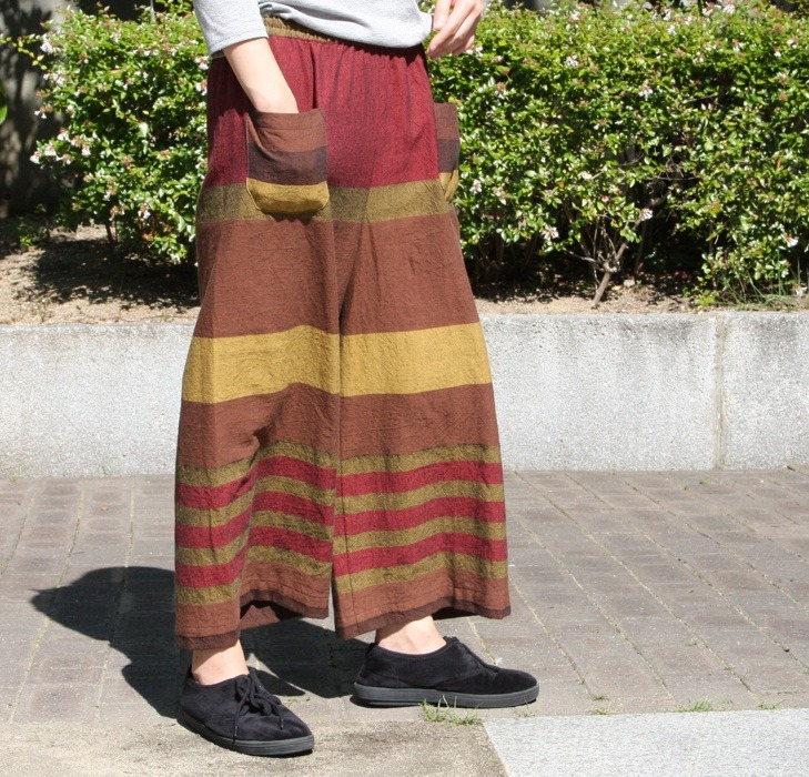 【solmu】播州織 only one pants <ST> brown×red×mustard