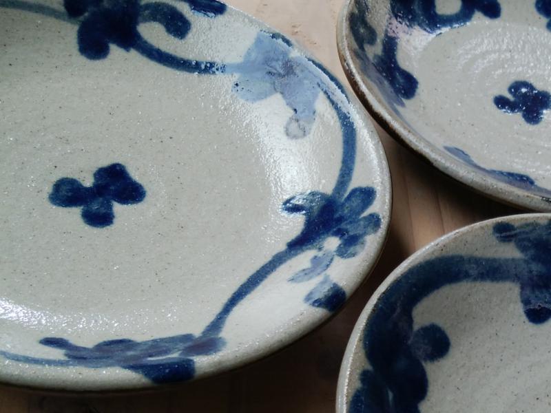 5寸皿 染付唐草花(るりコバルト)【青陶舎】