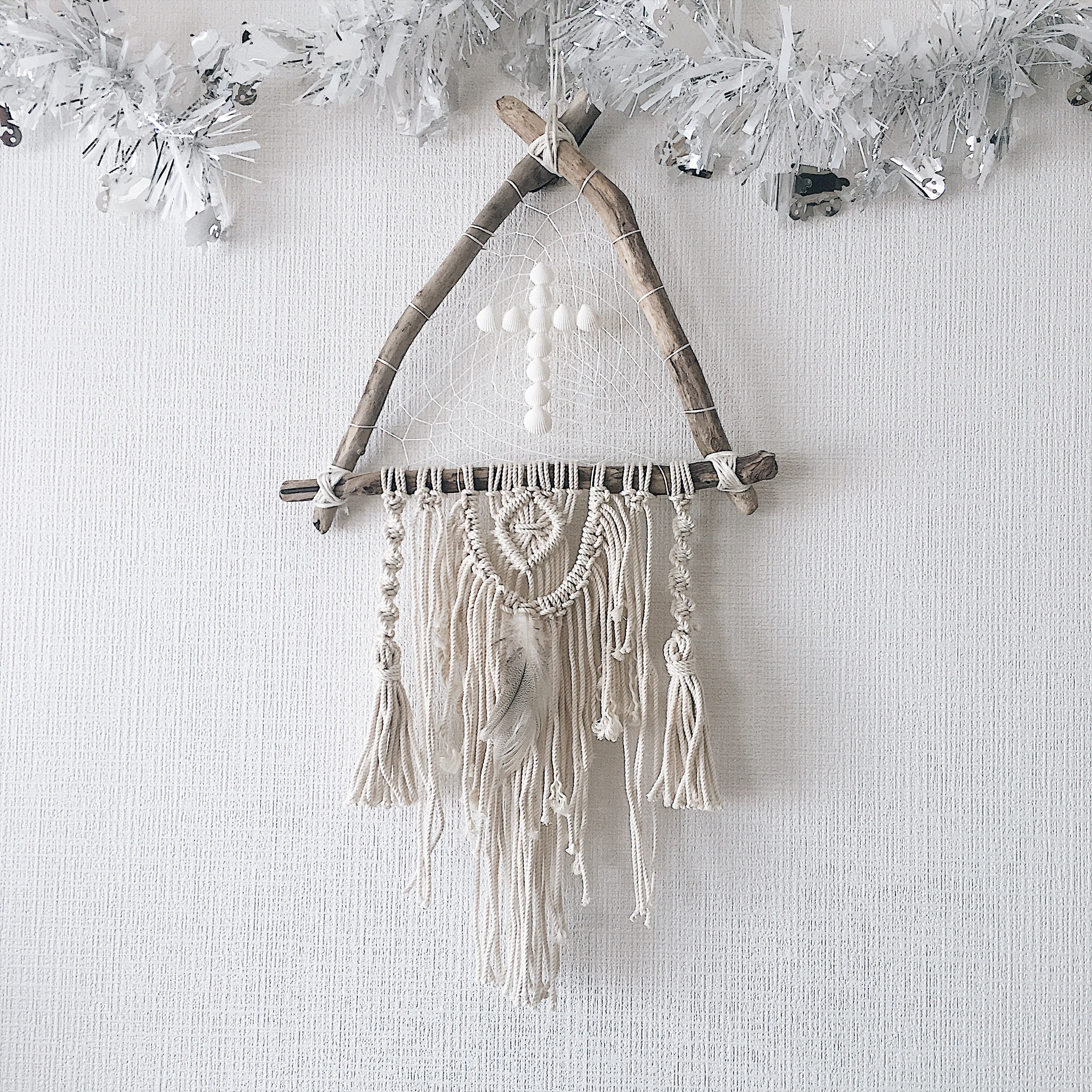 Triangle driftwood dreamcatcher - cross × feather -