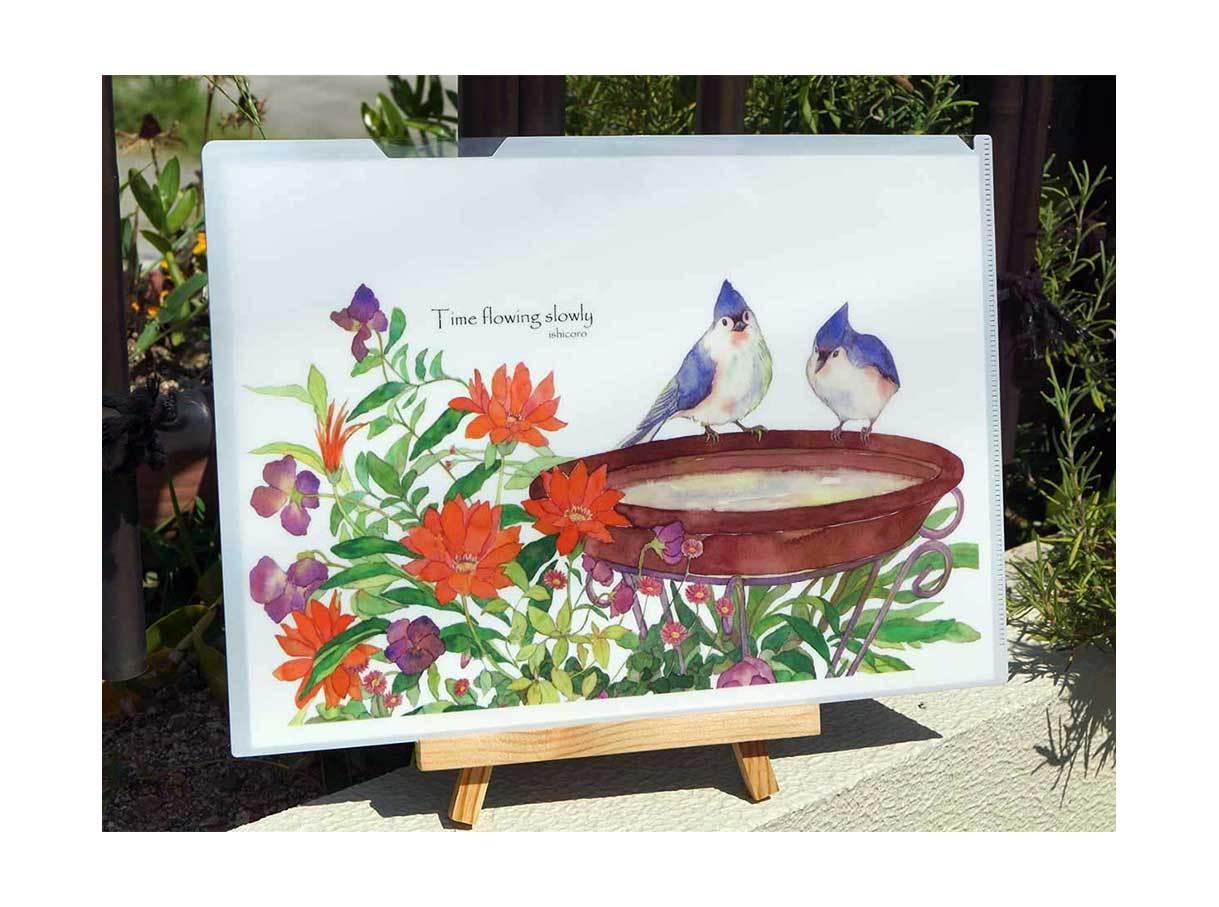 お花と小鳥のクリアファイル