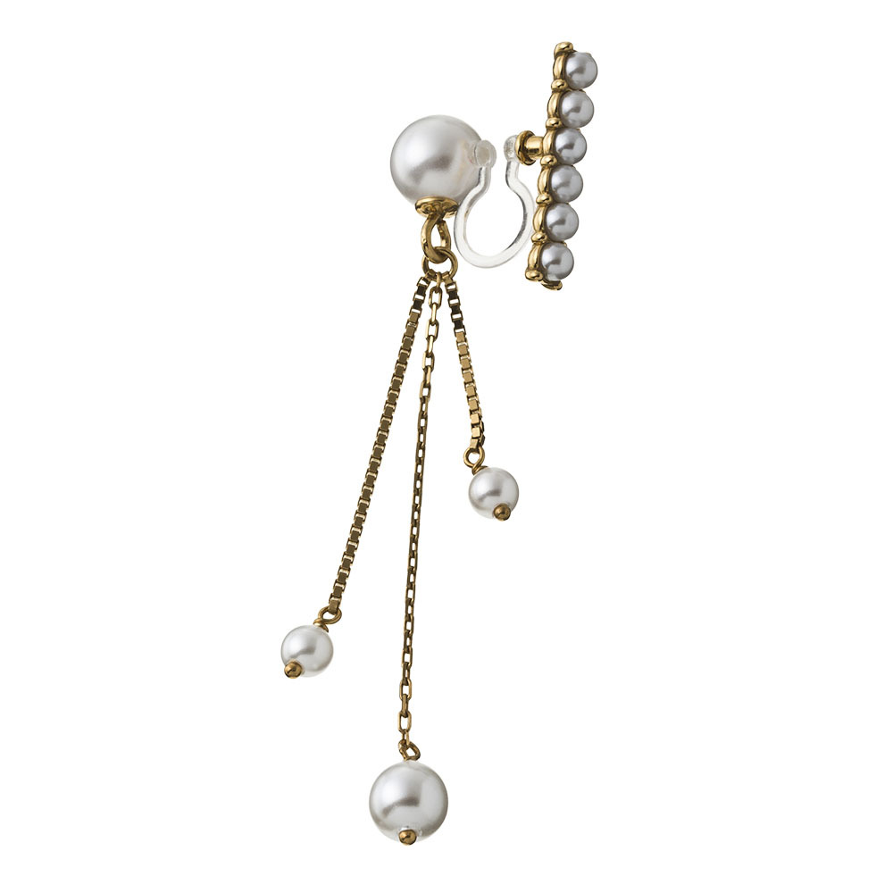 Reversible Pearl Chain Non Hole Pierce リバーシブルパールチェーンノンホールピアス(片耳用)ELNH0003I