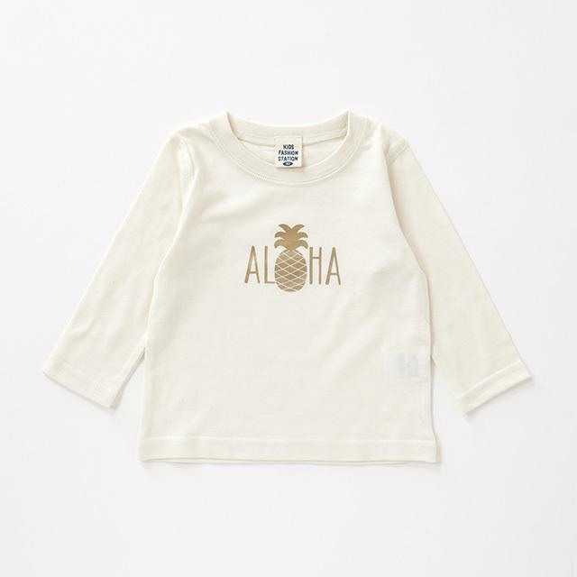 パイナップルALOHA柄 ロングスリーブTシャツ
