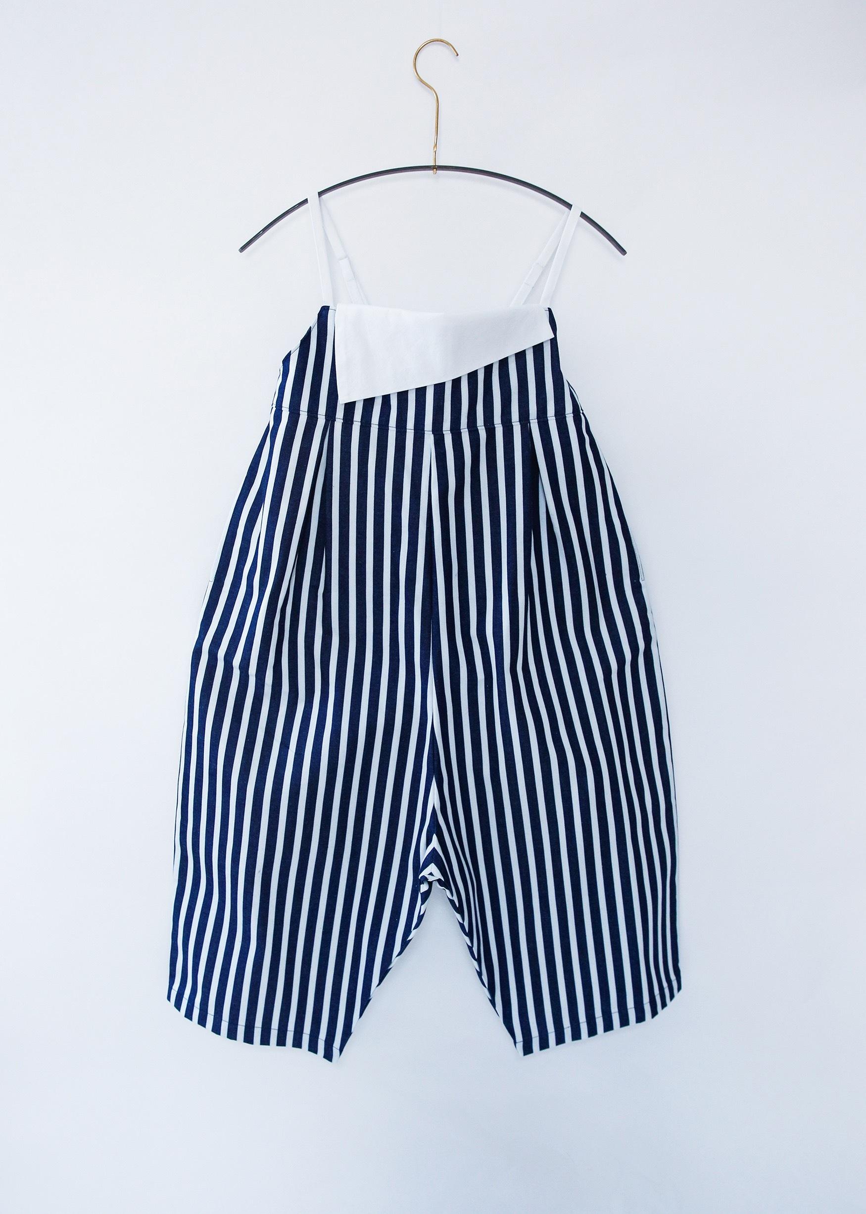 《michirico 2020AW》Indigo stripe saruel salopette / white × indigo / L・XL