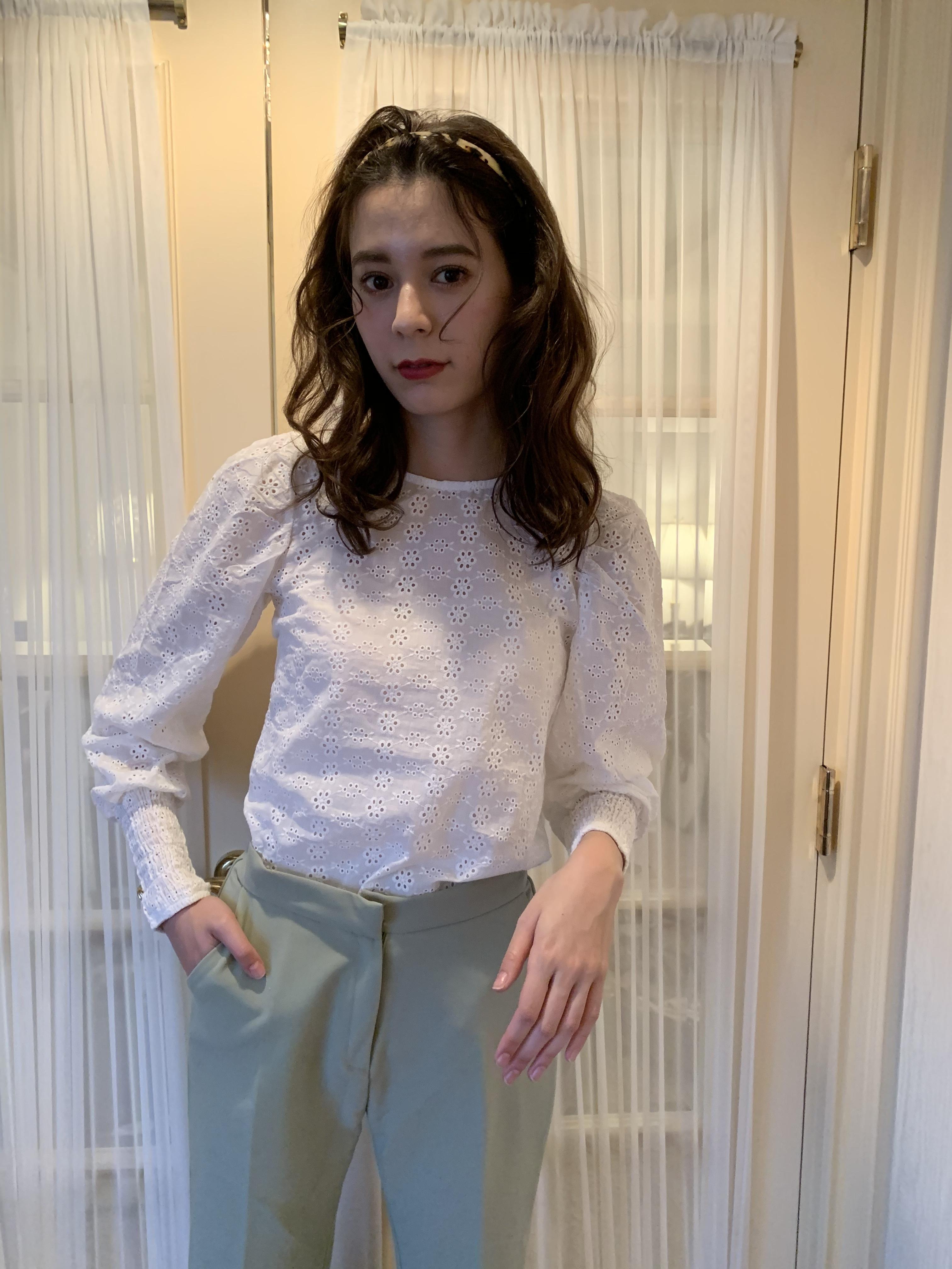 cotton lace paff blouse