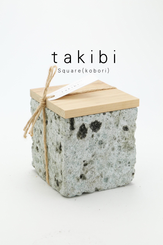 - takibi -  square(kobori) 大谷石 soy candle wood wick 6000