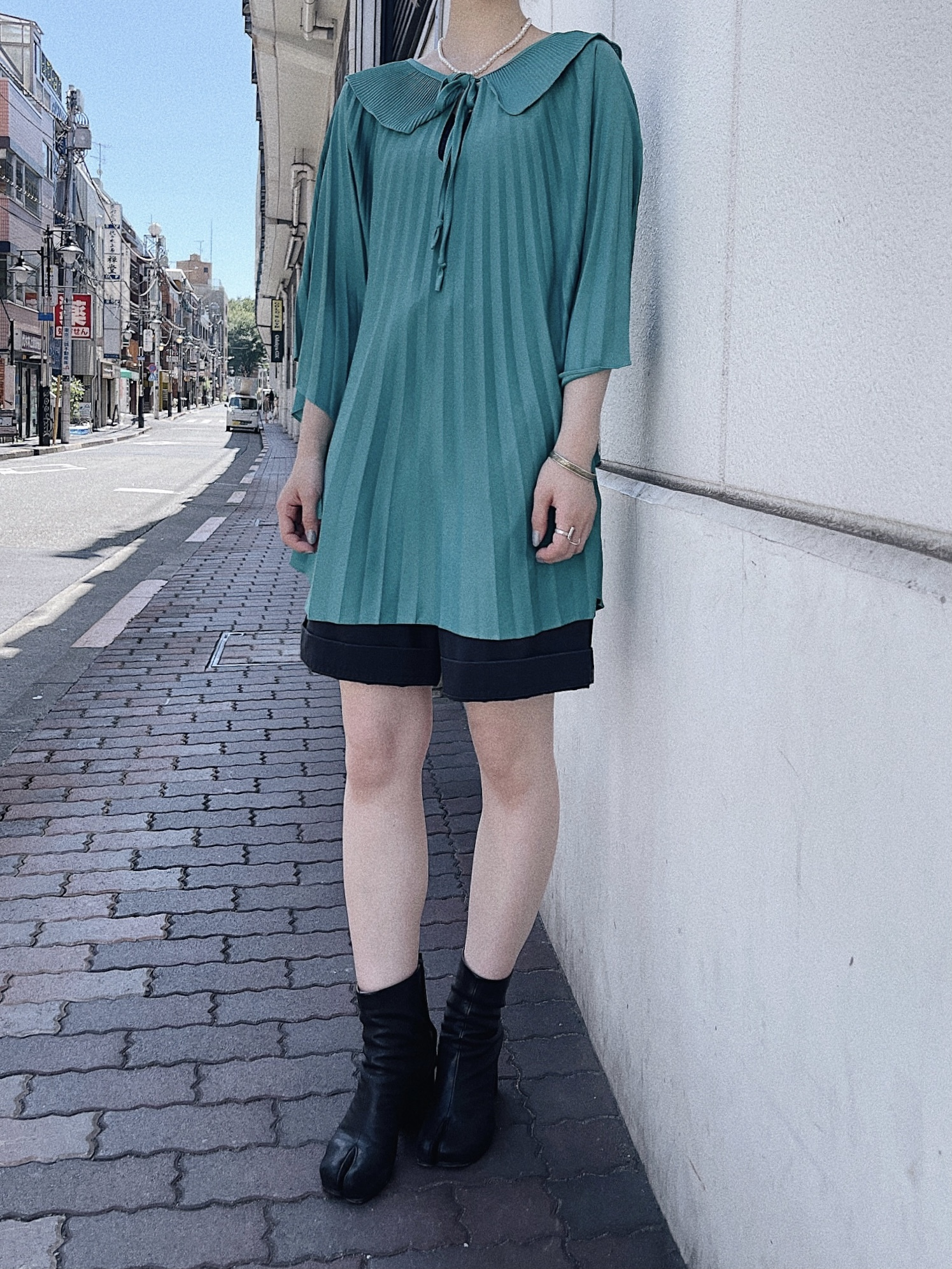 vintage pleats blouse - turquoise -
