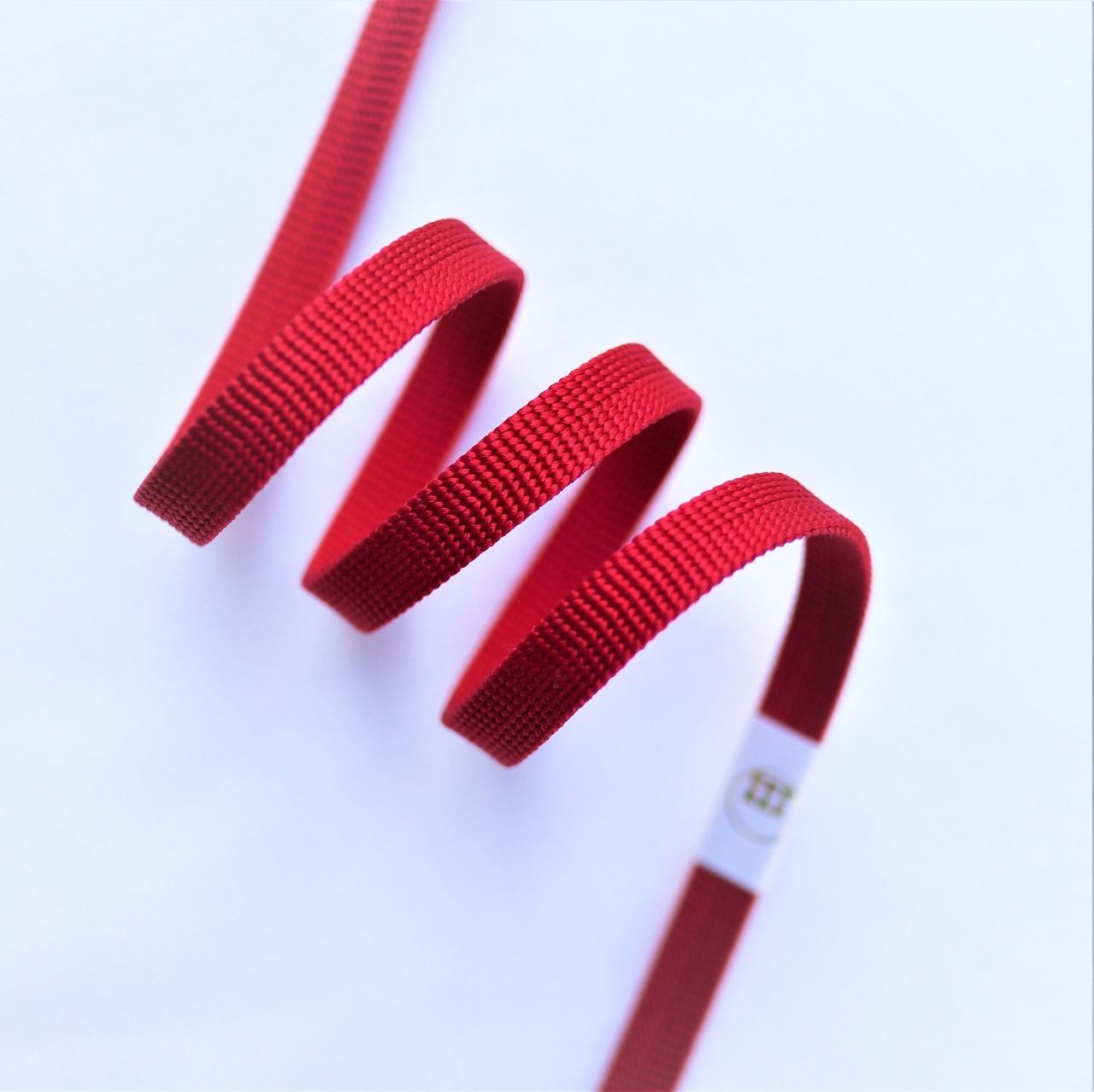 【帯締め】渡敬 正絹三分紐 遠州無地 濃紅色