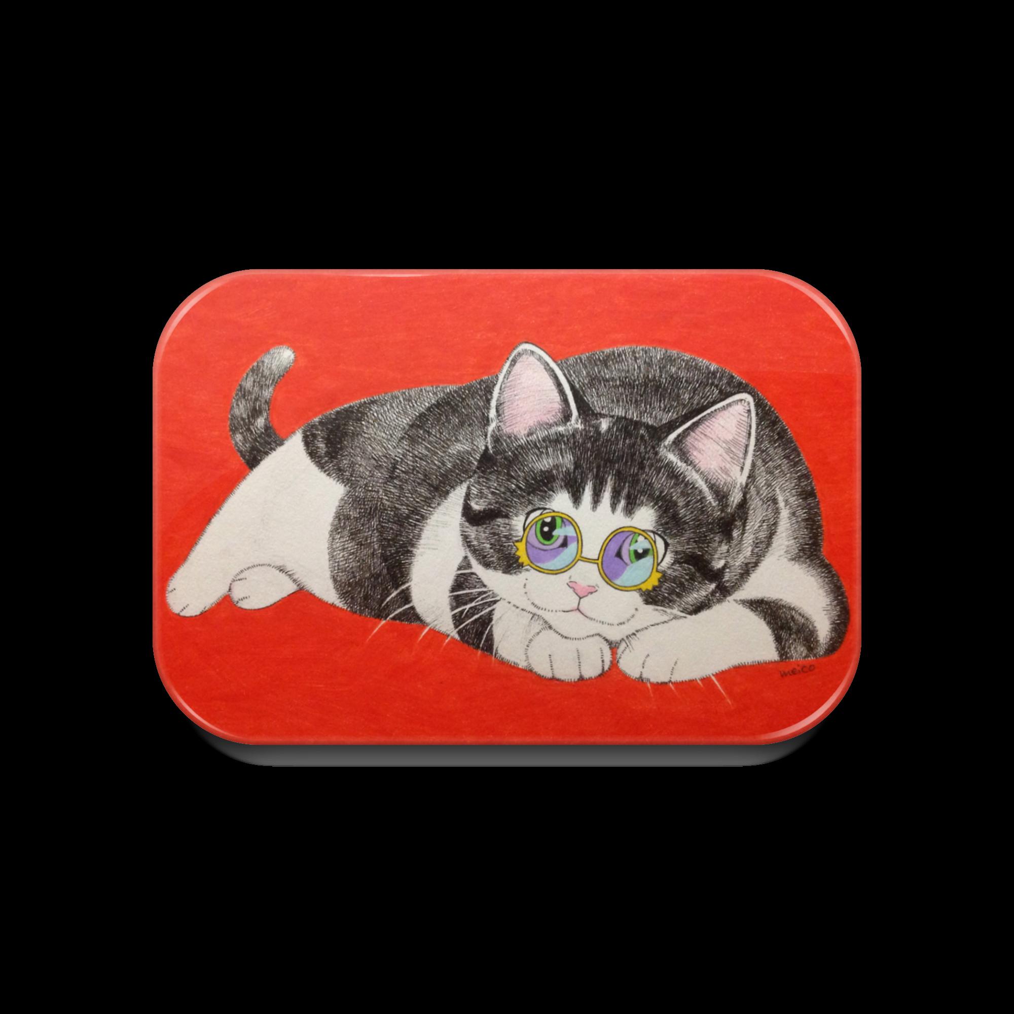 メガネ猫 缶バッジ