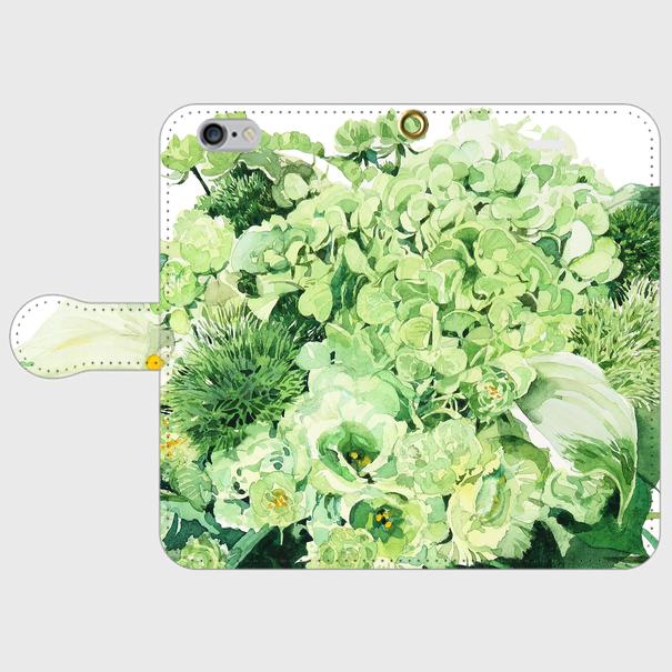 Green bouquet 手帳型スマホケース Android SサイズとMサイズ