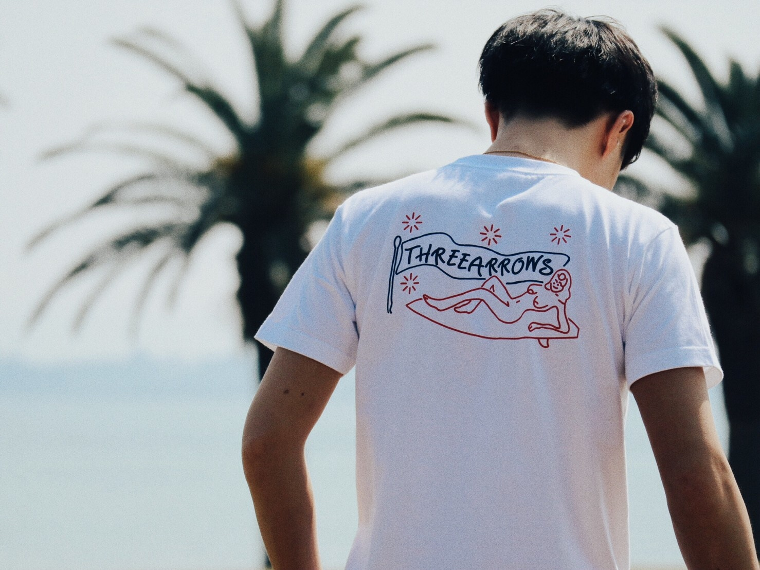 SURF GIRL Tシャツ(white ×  red)