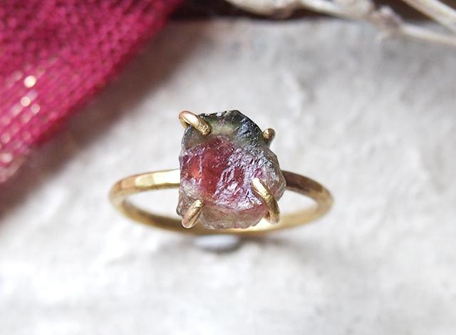 [一点物]原石のウォーターメロントルマリンのリング