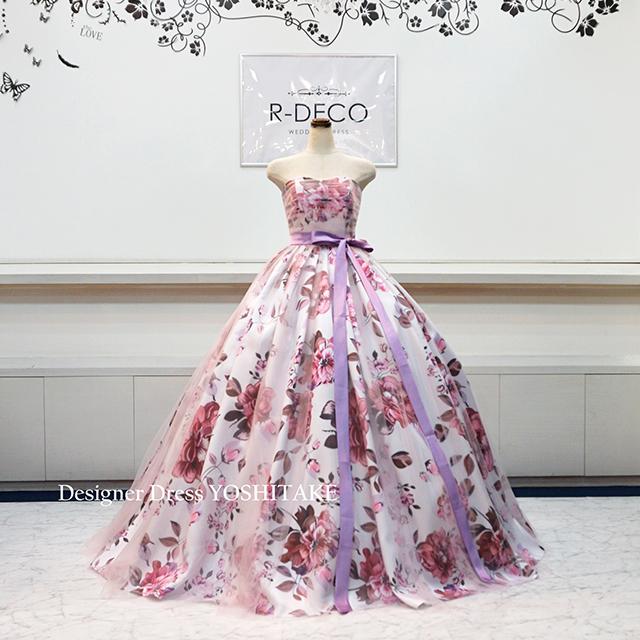 【オーダー制作】ウエディングドレス(6本骨パニエ) ピンク花柄&ピンクチュール 披露宴/二次会 ※制作期間3週間から6週間