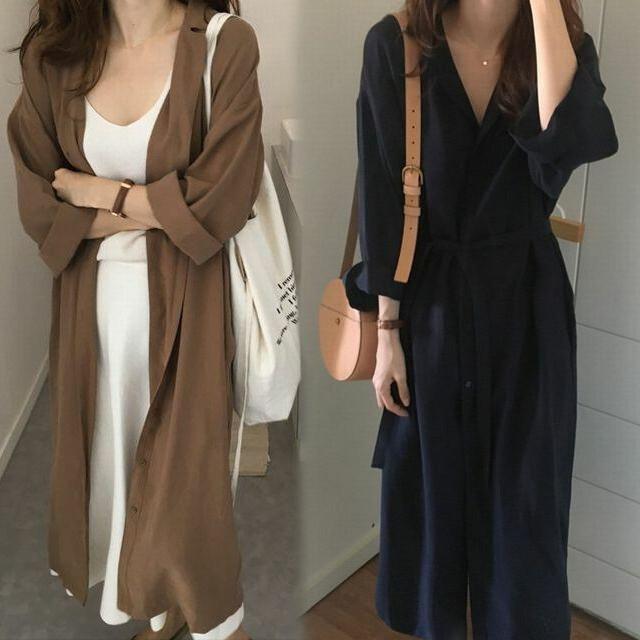 2WAY シャツワンピース コート 韓国ファッション レディース ロングシャツ 薄手 ラグランスリーブ