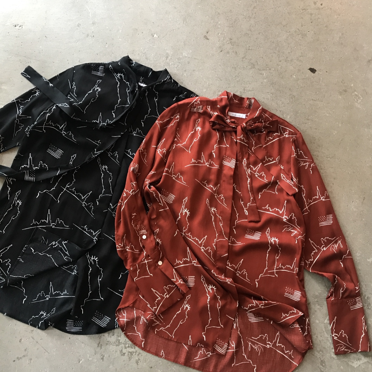 PHEENY - NYC printed bowtie shirt
