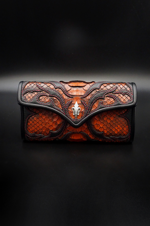 Item No.0350:Tear butt medium flap Wallet/Diamond python tangerine/RE-5